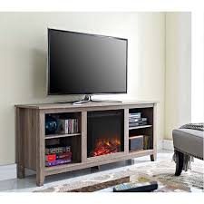 view a larger image of the walker edison driftwood 60 inch tv stand with fireplace insert