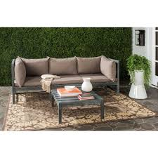 Safavieh Lynwood Modular Ash Grey Outdoor Patio Sectional Set with