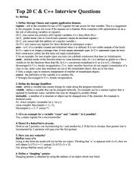 Top 20 Interview Questions Fillable Online Top 20 C C Interview Questions Fax Email