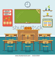 classroom table vector. school classroom with chalkboard and desks. class for education, board, table study vector s