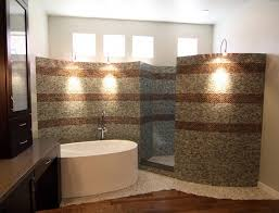 bathroom with walk in showers without door built from mosaic tiles in brown and grey up
