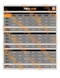 Fillable Online P90x3 Lean Calendar Workout Schedules And