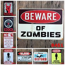 home decor plate x: decor plates beware of zombies chic home bar vintage metal signs home font b decor b font vintage