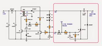 dc cdi circuit for motorcycles electronic circuit projects studying the circuit we see that it has two parts i e the cdi unit enclosed in the pink box and the remaining circuit on the left is high voltage