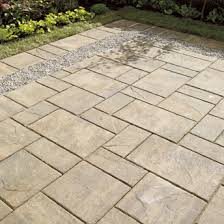 patio concrete slabs. Backyard Patio Of Concrete Paving Slabs With Gravel Insert C