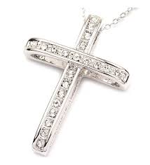 fc jory white rose gold plated rhinestone cross cubic zirconia pendant necklace silver