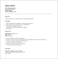 Objective For Banking Resume Objective For Resume Banking Entry