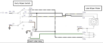 wiper wiring diagram help switch and earth why earlybay com looking at the park simulating relay the feed from 87 goes through the normally closed relay meaning that 87a grounds that power through 31b