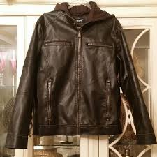 details about black rivet men s brown distressed faux leather small hooded lined coat jacket