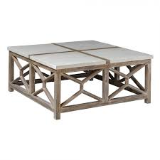 uttermost 25885 catali stone coffee table in natural ivory limestone and oatmeal washed wood