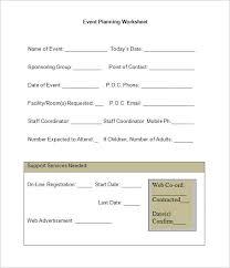 Event Planning Worksheet Template | Printable Year Calendar