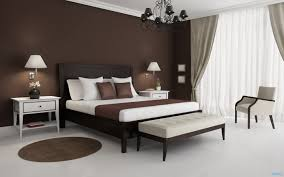bedroom: Modern Bedroom With Brown Accents Wall Feat Enchanting Dark Wood  Bed Plus Eclectic Bench
