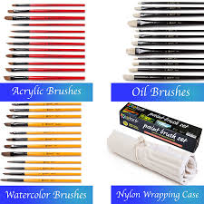 colore art paint brushes with nylon wrapping case complete pack of 36 professional grade paint brush set 12 acrylic 12 oil 12 watercolor paintbrushes