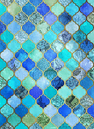 Moroccan Tile Pattern Custom Cobalt Blue Aqua Gold Decorative Moroccan Tile Pattern