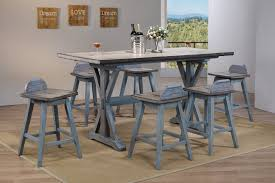 Kris 7 Piece Counter Height Dining Set Distressed Gray Washed