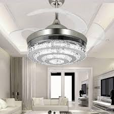 Crystal Light Fixture For Ceiling Fan 2019 Modern Led Invisible Crystal Ceiling Fans With Lights 42 Inches Living Rom Bedroom Folding Ceiling Fans Chandelier With Remote Control From