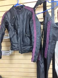 milwaukee leather women s jacket size small with purple ribbon detail w chaps sm