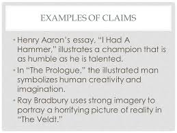 cei claim evidence interpretation what is it a structure for  examples of claims henry aaron s essay i had a hammer illustrates a champion that