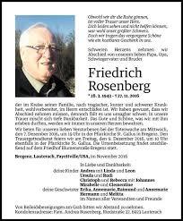 Todesanzeige Für Friedrich Rosenberg Vom 02122016 Vn