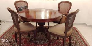 antique wood round dining table with 4 chairs baabda image 1