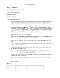 Asp Net Sample Resume New Sample Resume For Net Developer Over 60 Year Exp 10