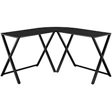 walker edison glasetal x frame corner computer desk black com