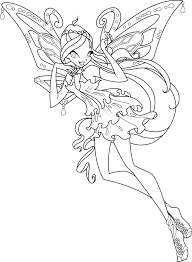 Winx Club Bloom Enchantix Coloring Page Free Download