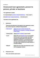 Secured private loan agreement form. Unsecured Loan Agreement Easy To Edit Template For Lending