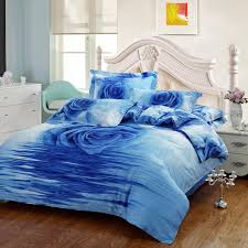 2016 blue rose 3d bedding oil painting cotton printed bedding sets three dimensional pattern home textiles comforter sets queen on full bedding set