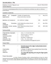 best resume format for btech freshers