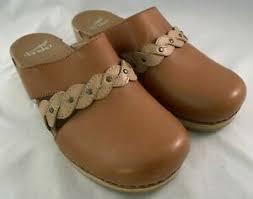 Details About Dansko Womens Sherise Platform Brown Leather Mules Braided Trim Size 39