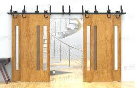 barn door closet hardware horseshoe bypass sliding barn wood closet door rustic black barn door track