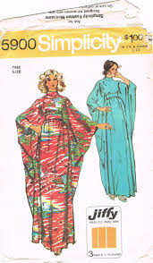1960s Caftan Simplicity 5900 Vintage Sewing Pattern One Size Bias