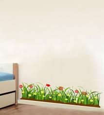 multicolour pvc vinyl green grass red flowers wall sticker by decor kafe