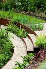 Beeteinfassung Aus Metall Rost Cortenstahl Rund Stufen Hang Gartengestaltung Kies Vorgarten Hanglage Cortenstahl Beeteinfassung