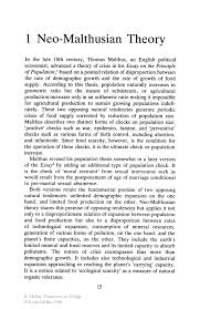 neo malthusian theory springer word in the late century thomas malthus an english political economist advanced a theory of crisis in his essay on the principle of based on a posited