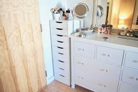 my makeup lives in the corner of my bedroom my dresser is the perfect height for me to stand at with my vanity mirror and do my makeup