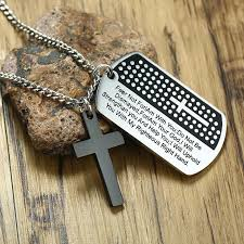 whole silver black stainless steel mens cross necklace carved lord s prayer dog tag pendant mens jewelry beaded necklaces heart pendant from shuidianba