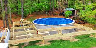 Above ground pool deck Composite Abovegroundpools240 The Pool Factory Pool Deck Ideas partial Deck The Pool Factory