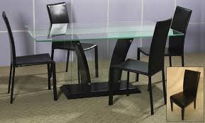 furniture rectangle glass top dining tables with black wooden bases added by black dining chairs