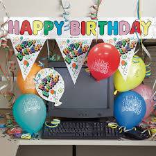 office party decorations. Happy Birthday! Decorate Your Employees Desk, With Banners, Flags, Confetti \u0026 Balloons Office Party Decorations R