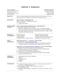 College Student Resume Engineering Resumes For Current Students