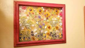 floating picture frames luxury real pressed golden daisies wildflowers on 17 x 14 framed glass