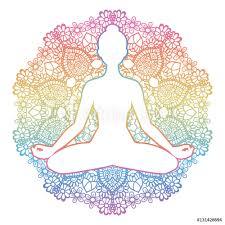 Fotografie Obraz Women Silhouette Yoga Lotus Pose Padmasana