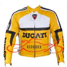 ducati yellow motor biker racing leather jacket image