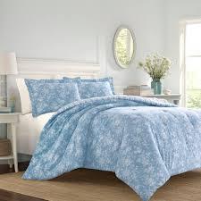 laura ashley walled garden 2 piece blue cotton twin comforter set ushsa51086333 the home depot