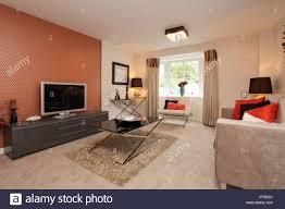 Wohnlandschaft Wohnzimmer Orange Wand Funktion Couchtisch