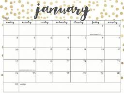 Cute Printable Calendars 2018 Monthly Free January 2018