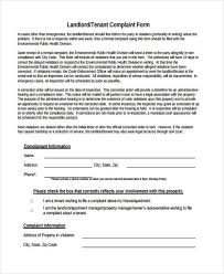 Free 8 Sample Tenant Complaint Forms In Pdf Word