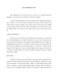 Philosophy In Life Essay My Own Philosophy In Life